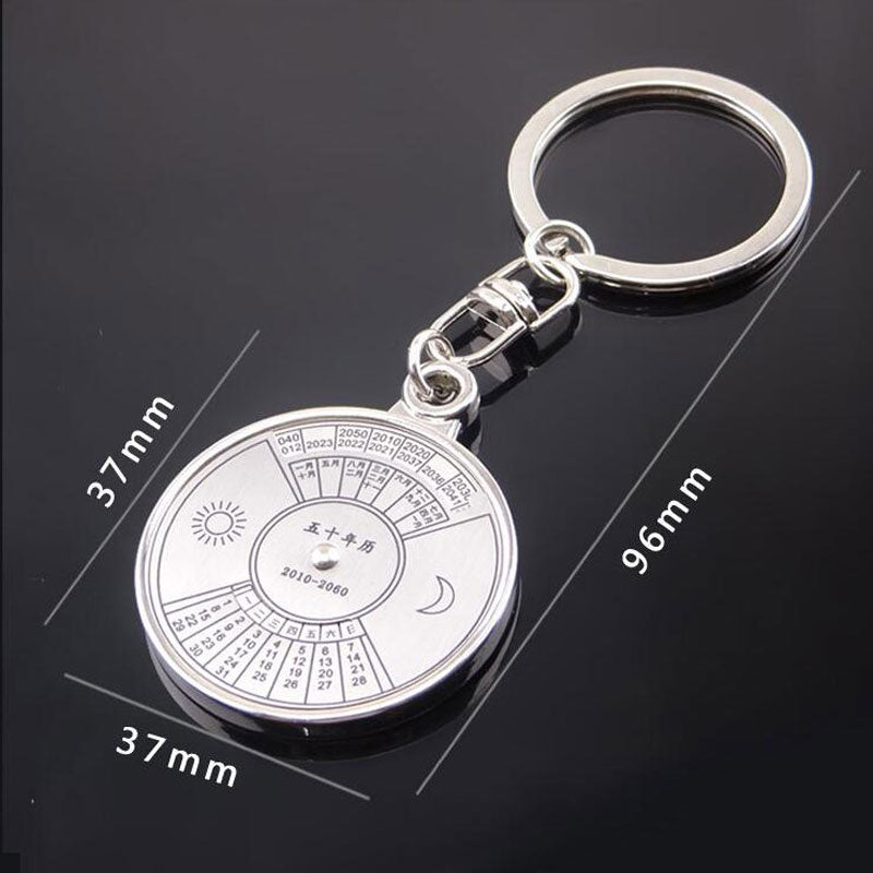 size information for beautiful 50 year perpetual calendar keychain