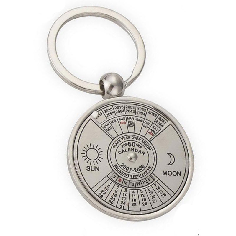 image of 50 year perpetual calendar keychain on white background