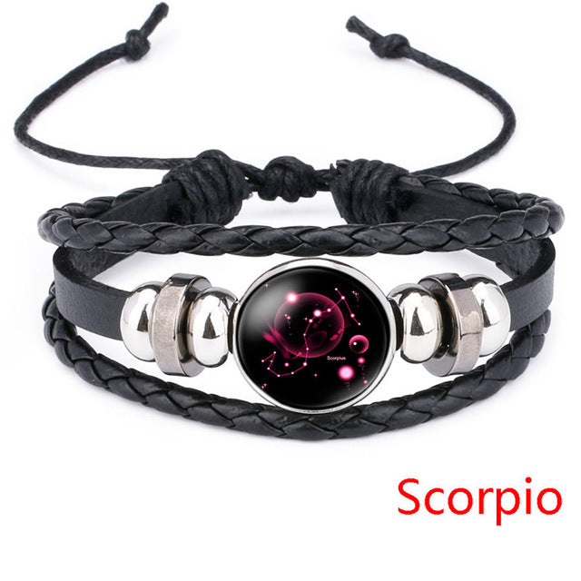 zodiac jewel leather bracelet scorpio