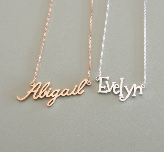 custom name necklace examples, abigail and evelyn