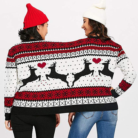 two ladies wearing two-person ugly Christmas sweater, back view