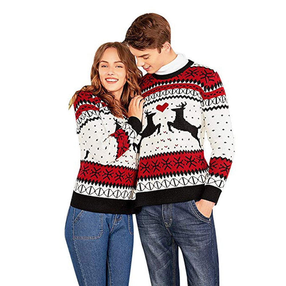 Couple wearing two-person ugly Christmas sweater, front view