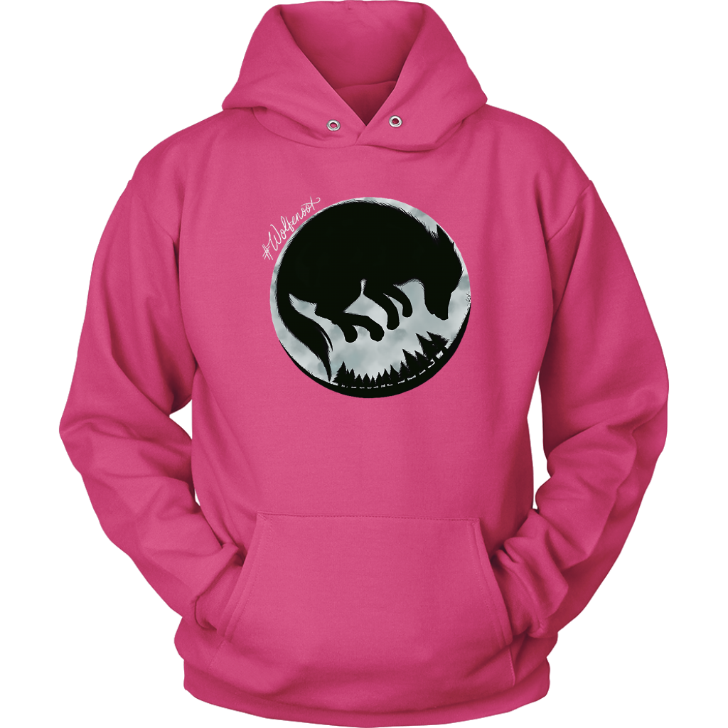 wolfenoot premium adults' hoodie in pink with wolf logo design on front