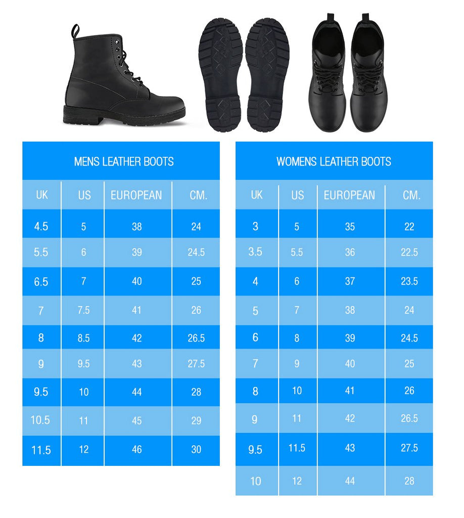 size charts for mens and womens single color premium vegan leather boots