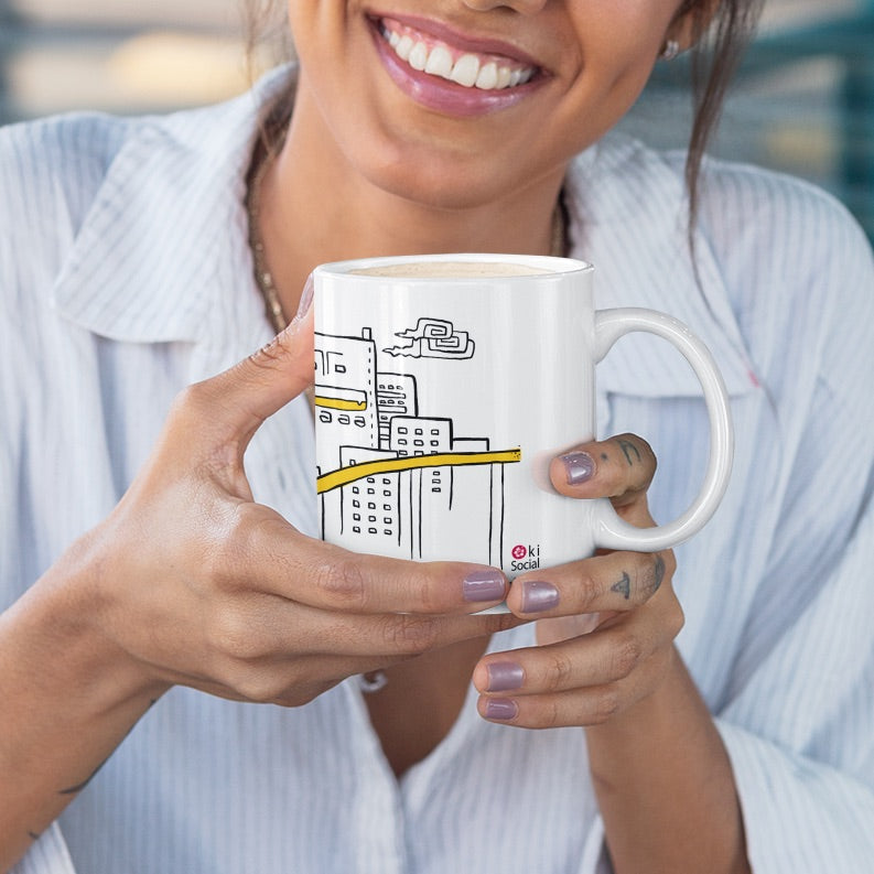 Coffee Mug - Happiness in Okinawa is riding the monorail in Naha