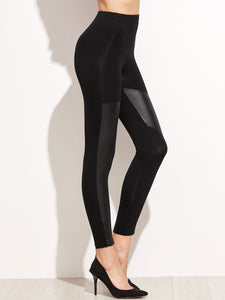 Figure hugging leather patch leggings