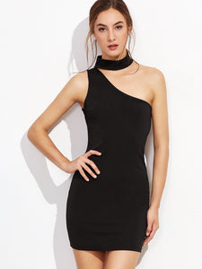 Choker neck one shoulder dress