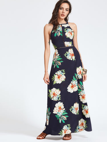 Front slit backless maxi dress