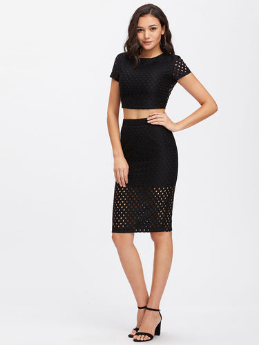 Crop top skirt set