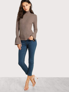 Turtle neck bell cuff top