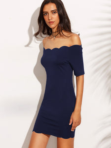 Bardot scallop neckline dress