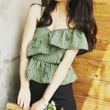 One shoulder front ruffle top