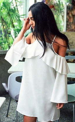Cold shoulder dove dress