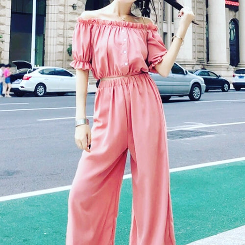 Off shoulder crop + pants