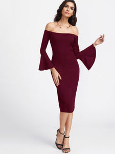 Bardot bell sleeve dress