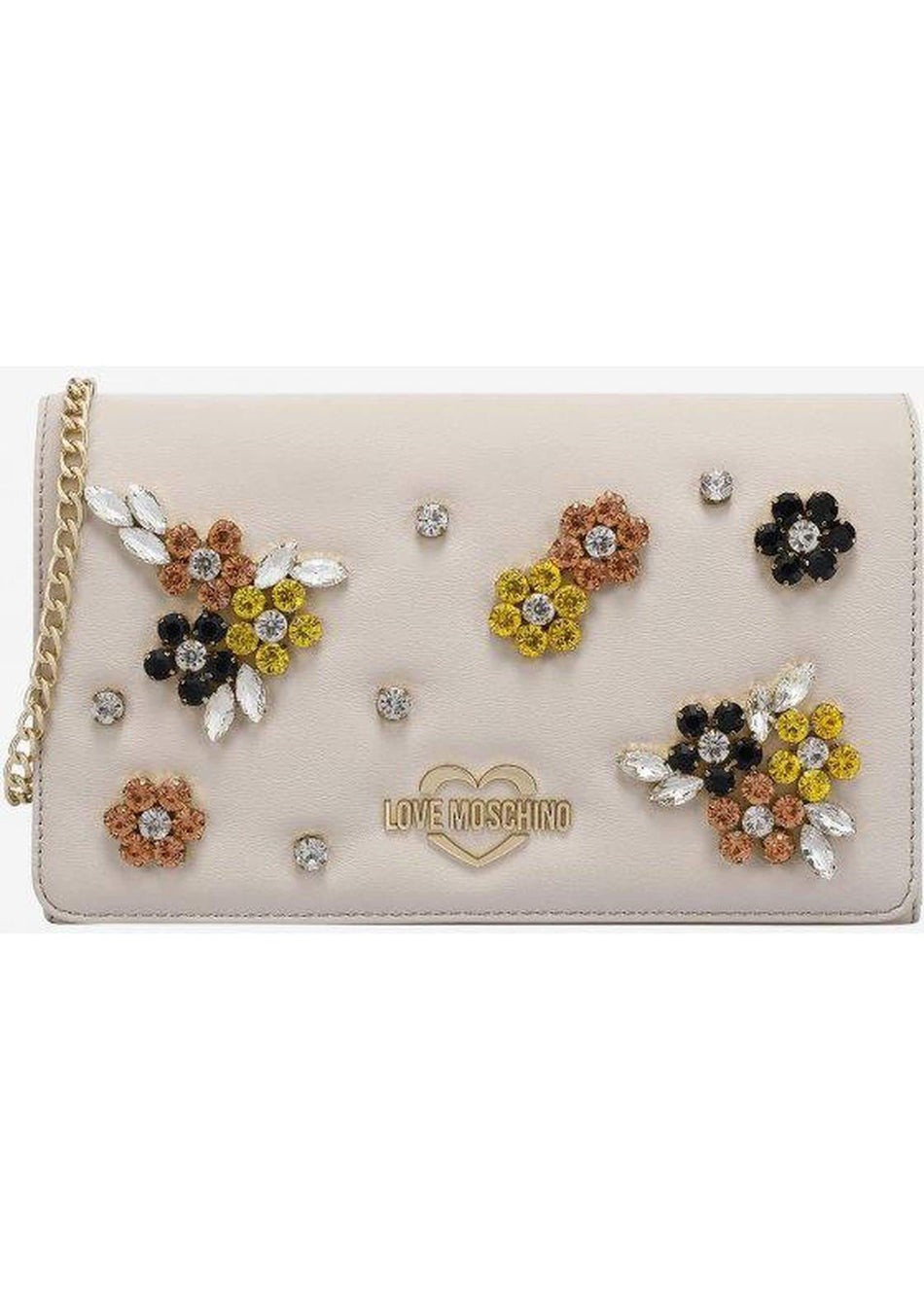 evening bag in ecopelle con fiori in cristalli LOVE MOSCHINO - Vittorio Citro Boutique
