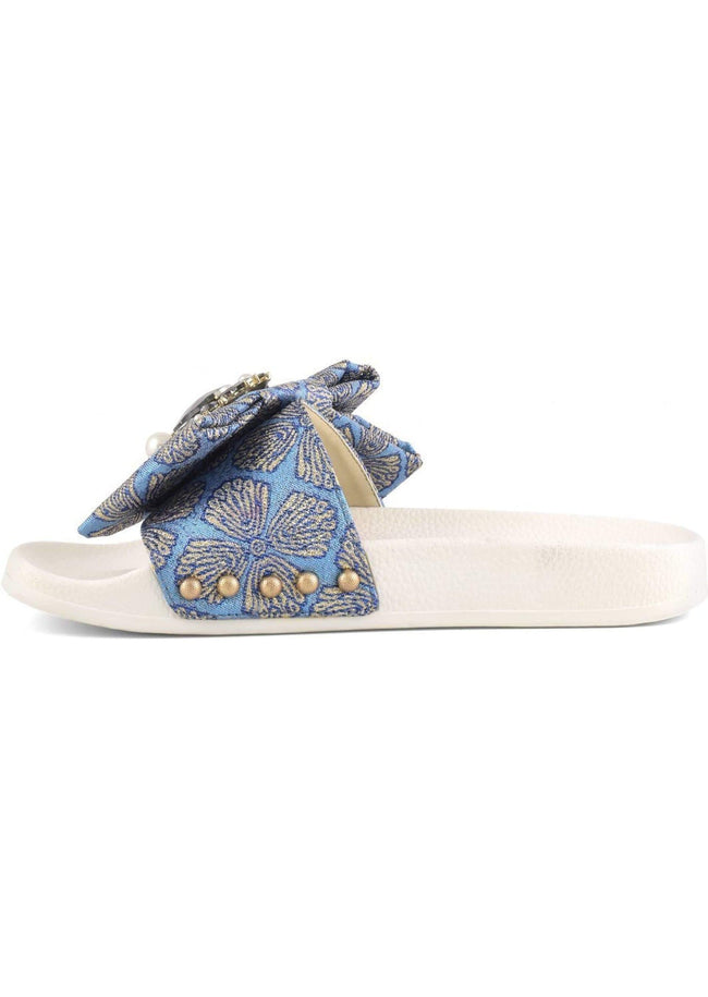slide in tessuto con accessorio fiocco CORAL BLUE - Vittorio Citro Boutique