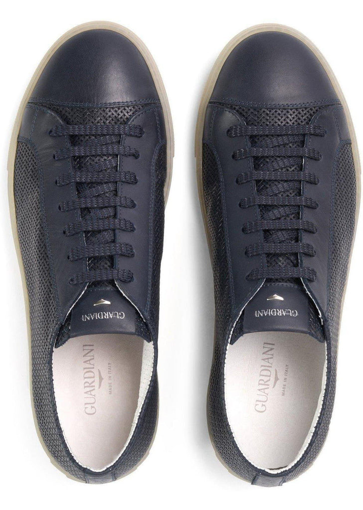 Tudor Sneaker blu navy in pelle intrecciata - Vittorio Citro Boutique - GUARDIANI