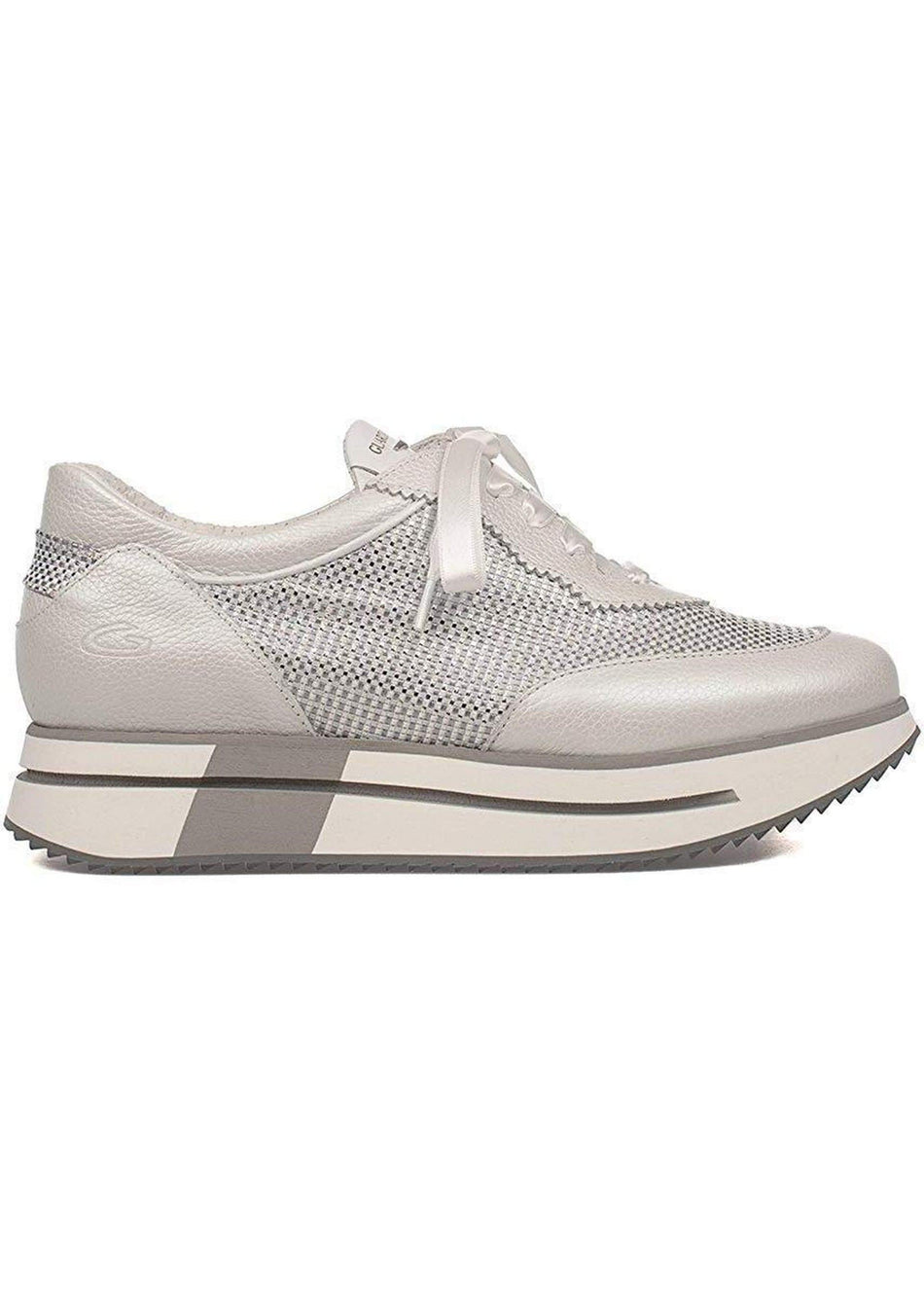 way sneaker in nappa e tessuto glitter grigio GUARDIANI - Vittorio Citro Boutique