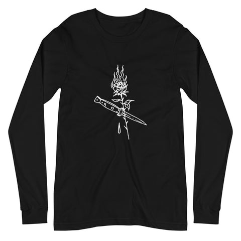 ROSS HELL Dagger and Rose Unisex Long Sleeve Tee
