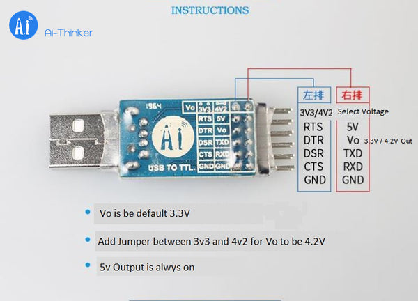 USB to TTL serial port module 3.3V 5V CP2102