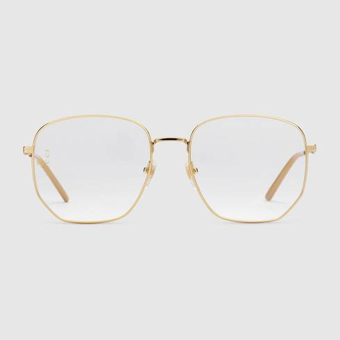 Rectangular-frame metal glasses