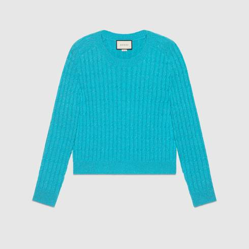 Cable knit wool lurex sweater
