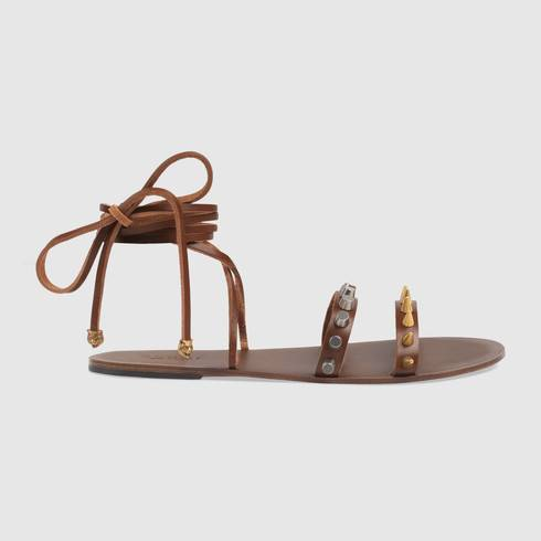 Leather lace-up sandal