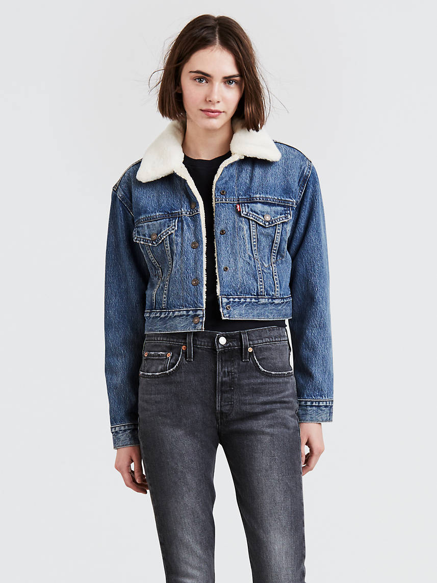 Cropped Sherpa Trucker Jacket