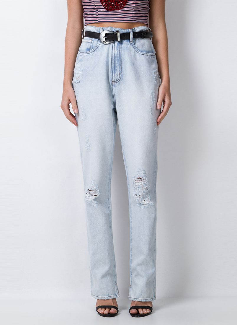 CALÇA SUPER HIGH COM CINTO JEANS