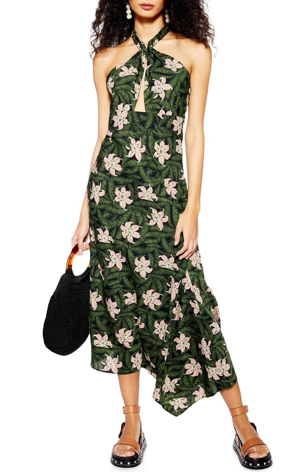 Hibiscus Halter Midi Dress