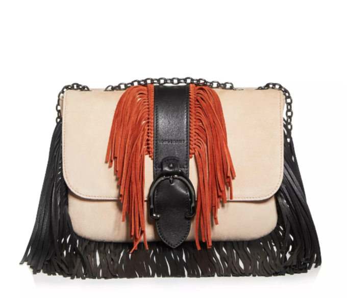 Amazone Small Color-Block Suede Shoulder Bag