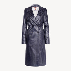 Coated Pinstripe Coat