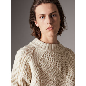 Wool Cashmere Aran Sweater