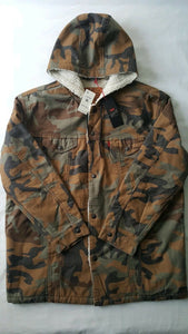 Sherpa Hooded Camo Fresh Leaves Trucker Jacket