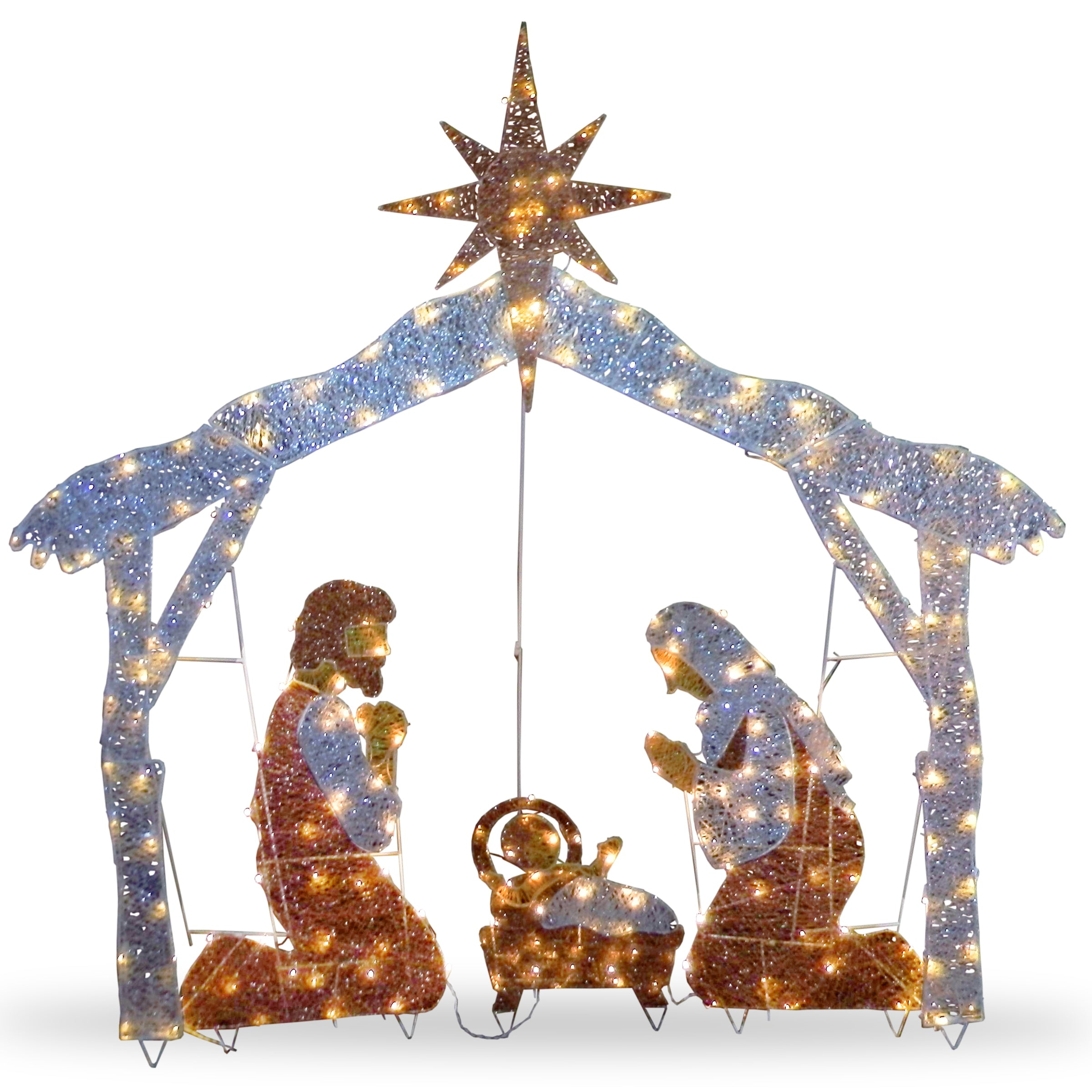 Lighted outdoor nativity set christmas yard decor decor compare national tree df 250001u 72 crystal nativity aloadofball Images