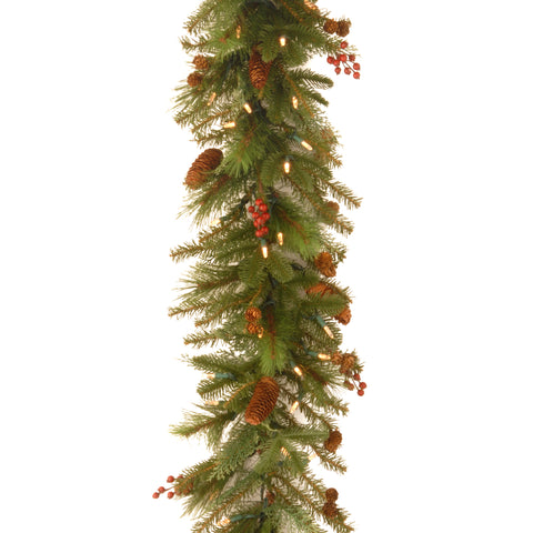 National Tree NL13-300L-6B-1 6' Noelle Garland with 60 SoftWhite LED Battery Operated Lights