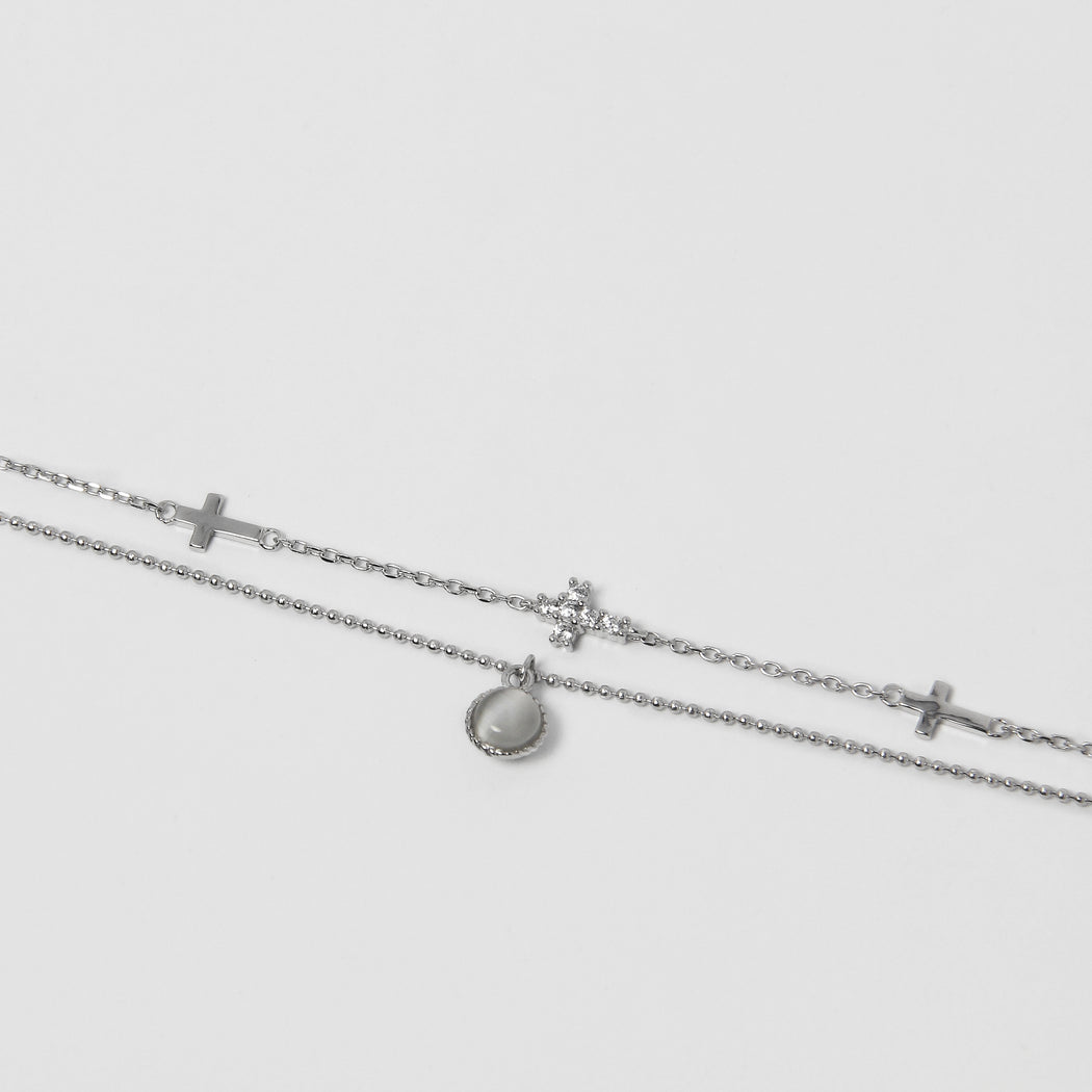 Sideways Cross Cat's Eye Stone Bracelet