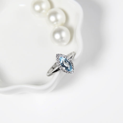Blue Topaz Marquise Ring