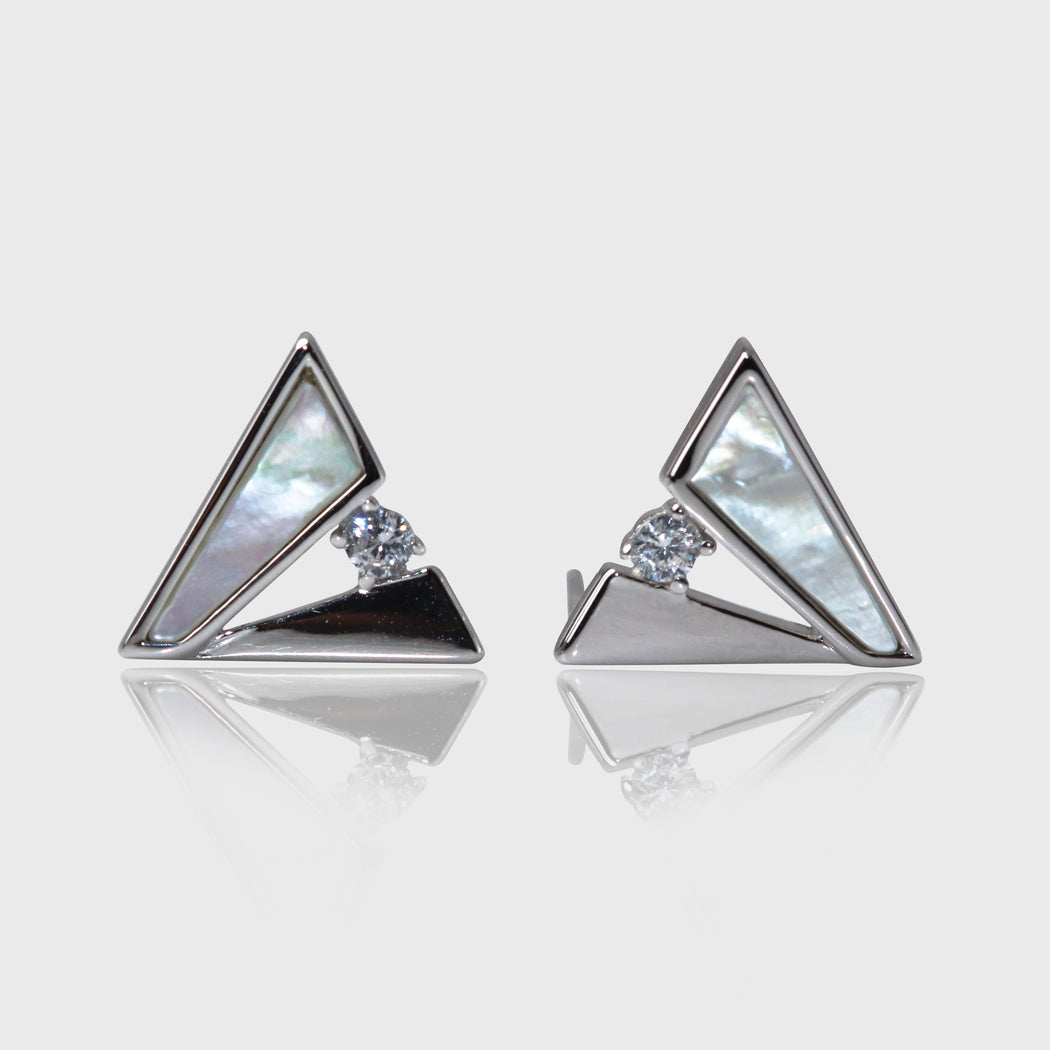 Triangle Mother of Pearl Stud Earrings