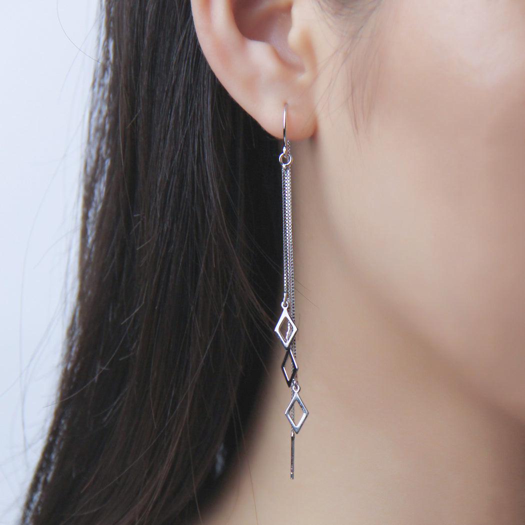 Diamond Shape Threader Earrings