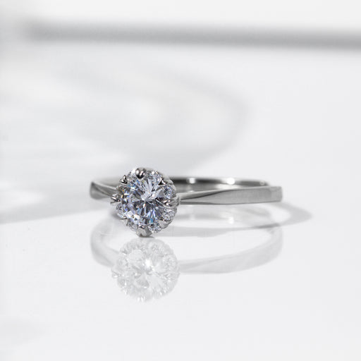 Round Cut 0.3 Carat Halo Heart Prong Ring