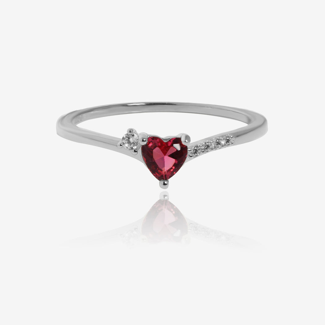 Red Stone Heart Ring Stackable