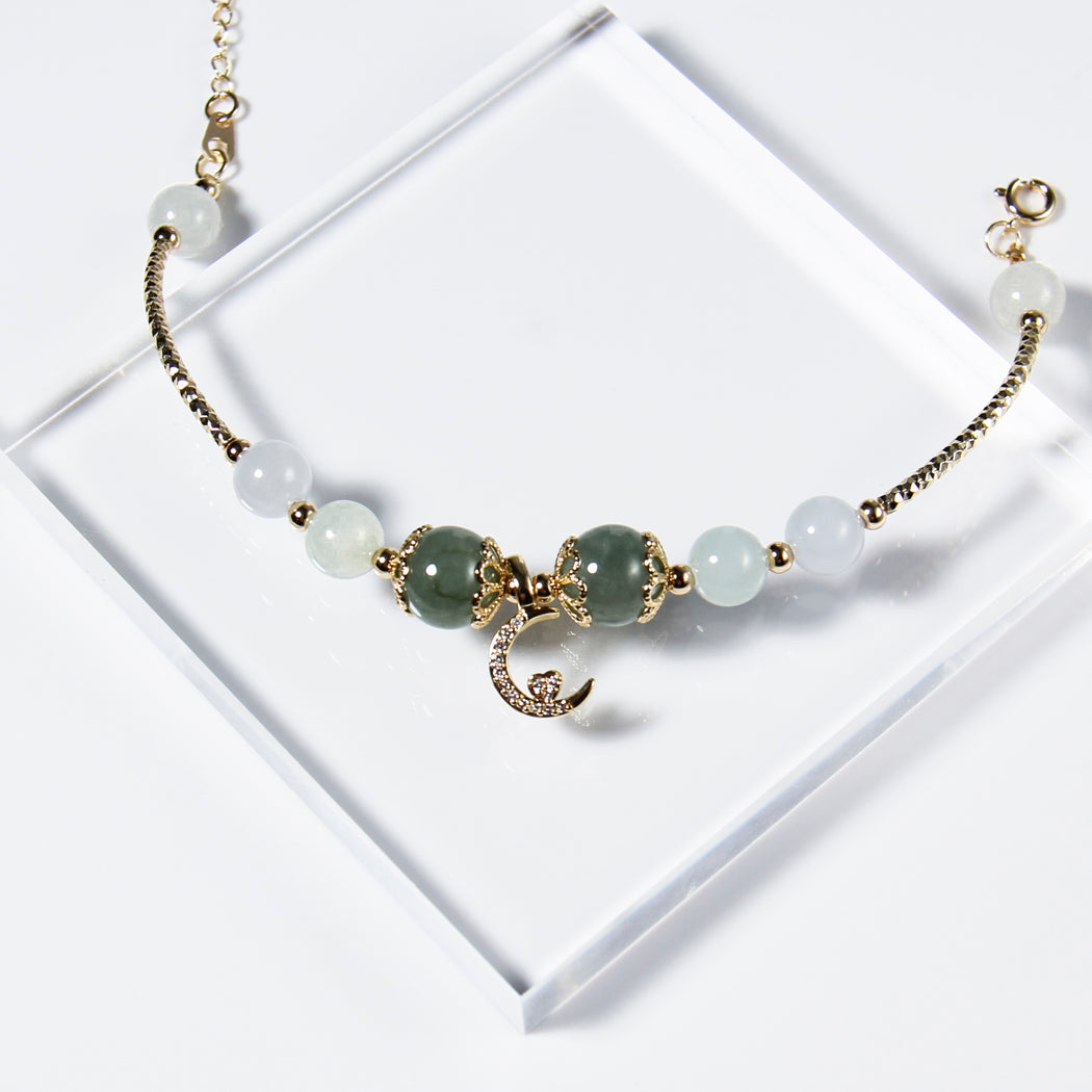 Green and White Jade Bracelet