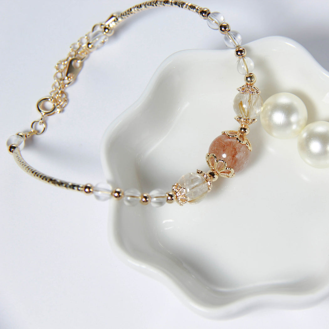 Clear Quartz and Rutilated Quartz Bracelet