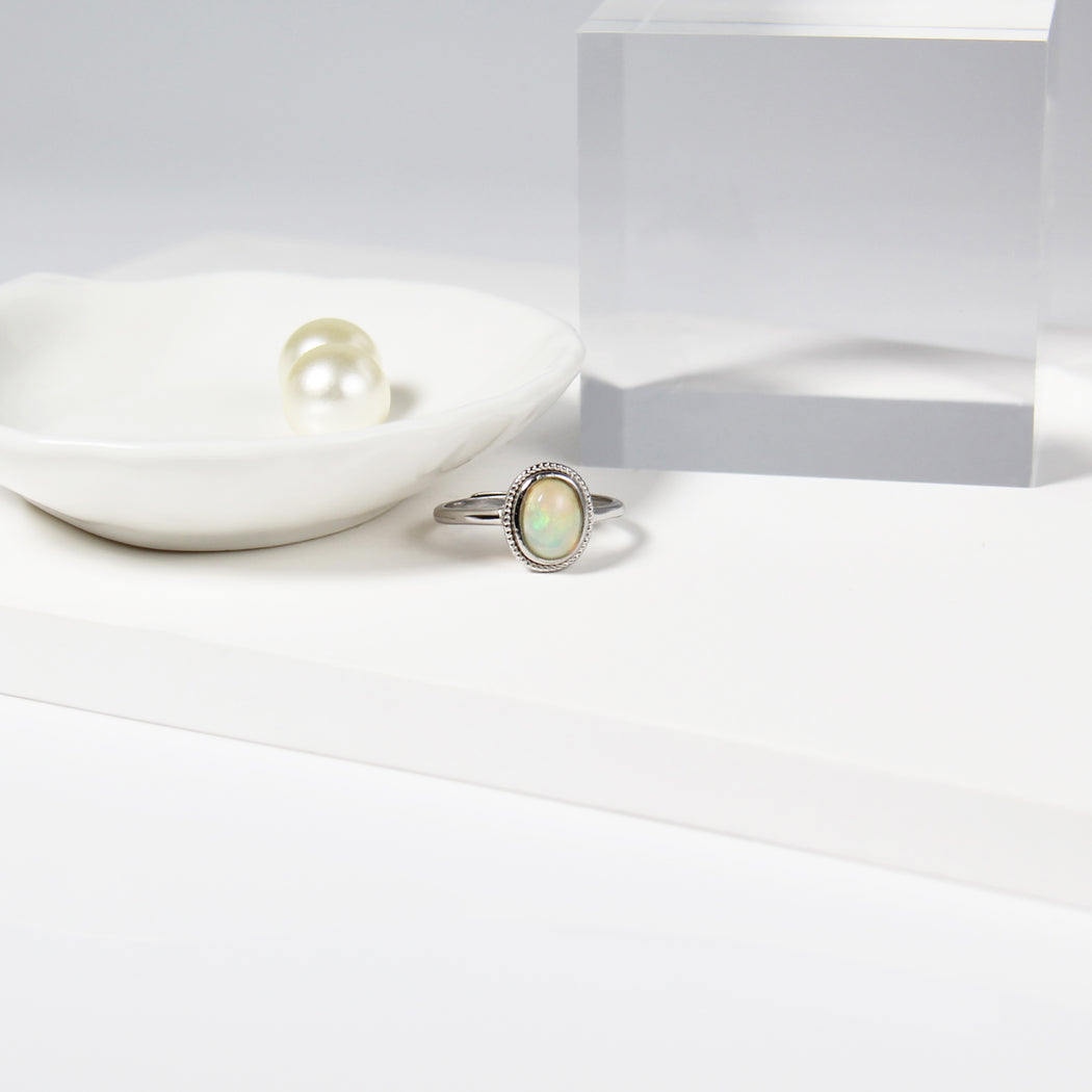 Oval White Fire Opal Ring