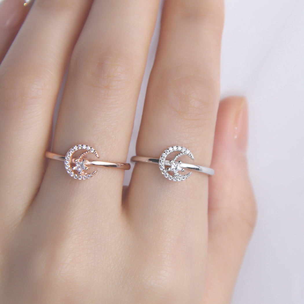 Crescent Half Moon and Star Ring