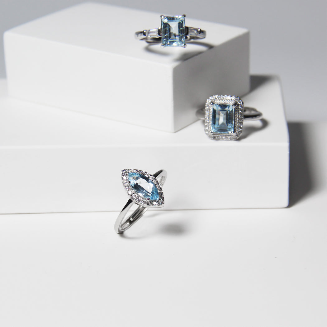 Blue Topaz Baguette Cut Ring