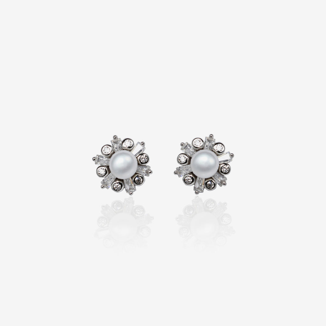 Fresh Water Pearls Flower Earrings