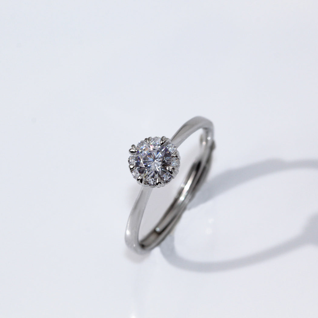 Round Cut Halo Heart Prong Ring